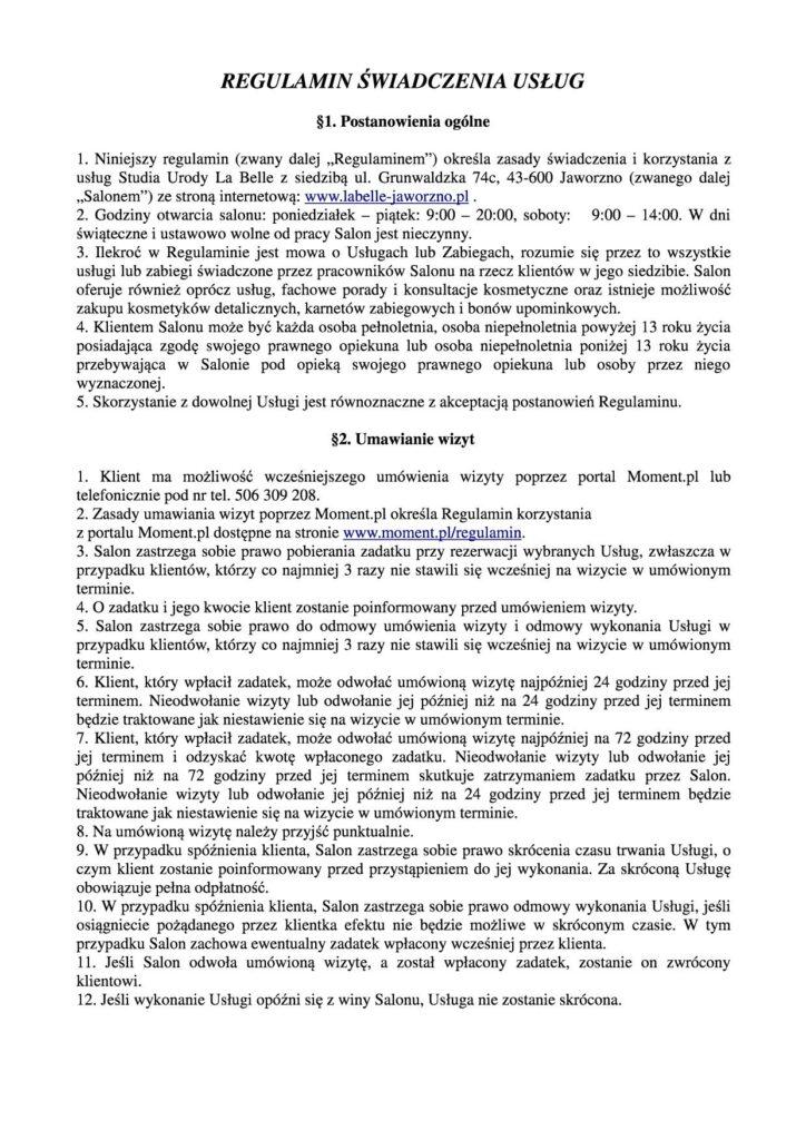 Regulamin salonu (1)mod1